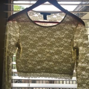 Forever 21 laced long sleeved crop top